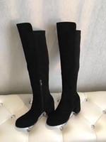 Wholesale kitten paintings resale online - top quality u811 colors genuine leather cm heels knee high boots stretch matte black burgundy tan