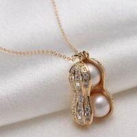 cadena de cacahuetes al por mayor-Nuevo diseño de joyería para mujer, perla simulada, colgante de maní, collares, collar de estilo corto, accesorios de moda para plantas, cadena de cuello