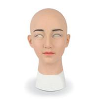 festa ensolarada venda por atacado-Sunny crossdresser silicone máscara feminina realista transgênero látex sexy cosplay para o sexo masculino real fontes do partido do dia das bruxas