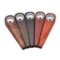 mini pipes en bois achat en gros de-Date Mini Filtre En Bois Fumer Tuyau Bol En Métal Conception Innovante Tube Handpipe Portable De Haute Qualité Gâteau Chaud DHL Gratuit