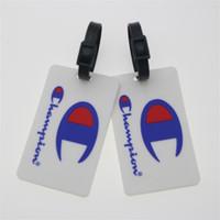 etiquetas de nome pvc venda por atacado-Ao ar livre Saco de Viagem Etiqueta de Campeão PVC Macio Cartas de Impressão de Bagagem Tag Cartas Nome Nome do Endereço de Impressão Impressa 1 5fg E1
