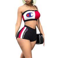 ingrosso reggiseno insieme marca-Champion Women Designer Tute Summer Crop Top Tube senza spalline Bra + Shorts 2 pezzi Set Outfit Marca Beach Street Sportswear S-XXL C6302