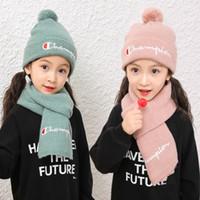 Wholesale beanies knitted kids resale online - Kids Baby knit hat scarf set letter print Children Scarf Hat Pompon Winter Children Beanie Cap Scarf set LJJK1729
