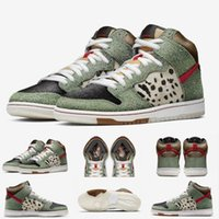 Wholesale dog new shoes resale online - New Arrive High Quality SB Dunk High Dog Walker Basketball Shoes For Mens Black Green Trainers Designer Brand Sport Sneakers SIZE