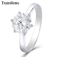 Wholesale 2ct white gold engagement rings for sale - Group buy Transgems k White Gold Moissanite Diamond Engagement Ring For Women Fine Jewelry Center ct F Color Moissanite Ring Y19061203