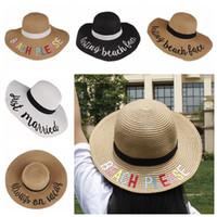 yaz şapkası toptan satış-Anne ve kızı Kova Şapka Hasır Sunhat yaz plaj Güneş Şapka Kelime Balıkçılık Kapaklar Anne kadın çocuk çocuklar mektup moda Balıkçı şapkalar