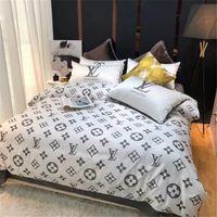 conjunto de cama de qualidade total venda por atacado-Branco Vermelho 2 Cor Terno Roupa de Cama de Qualidade de Vida Simples Conjuntos de Cama Carta Cheia 4 PCS Marca de Design de Têxteis Para Casa