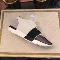 marka ayakkabı erkek toptan satış-Balenciaga Race couple shoes Balenciagas 2019 LÜKS TASARIM MARKA TASARIMCI flats Hakiki Deri ERKEK SNEAKERS MENS RUNNERS KADIN Kaykay casual AYAKKABI womens