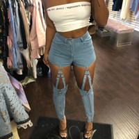 железные цепные звенья оптовых-metal chain iron ring link hollow out jeans pencil pants zipper zip up high waist casual jeans hollow out cut denim WP5033H