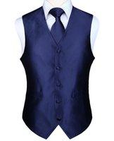 krawattenweste großhandel-Einstecktuch Set Herren Klassische Feste Party Hochzeit Krawatte Jacquard Weste Weste Einstecktuch Krawatte Anzug Set