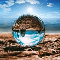 ev için dekoratif kristaller toptan satış-K9 Dekoratif Kristal Top 60mm Temizle Fotoğraf Lens Prop Küre Masaüstü Dekor Ev Sanat Süsleme OOA6319