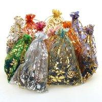 sacos de organza flores venda por atacado-Rose Gilding Organza Presentes Cordão Sacos De Embalagem De Jóias Bolsa Impresso Fio Rosa Flor Sacos 7x9 / 9x12 / 11x16 / 13x18 / 15x20 / 17x23 cm