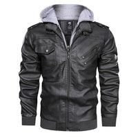 yeni erkek ceketli deri ceket toptan satış-Yeni Geliş Erkekler PU Deri Ceket Sonbahar ve Kış Erkek Kapşonlu Yüksek Kalite Erkek Plus Size Ceketler ile Katı Renk Ceketler Coat