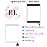 mini botão home do ipad venda por atacado-10 pcs touch screen para ipad mini 1 2 touch screen digitador assembléia + ic + botão home flex cable + etiqueta adesiva