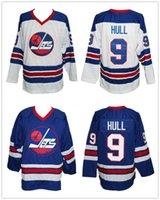 hokey formaları bobby gövde toptan satış-Bobby Hull 9. Winnipeg Jets Wha Beyaz Mavi Retro Buz Hokeyi Jersey Erkekler Dikişli Özel Sayı Adı Formalar
