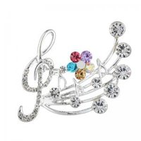 Wholesale blossom jewelry online - Crystal Musical Note Brooch Pins Blossom Brooches Delicate Wedding Jewelry Brooches Women Suit Accessory Corsage LJJW104