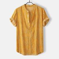 männchen beachwear großhandel-Sommer Herren Hawaiihemd Streetwear Beiläufiges Kurzarmhemd Lose Beachwear Knöpfe Strand Männliche Bluse Top Camisa masculina