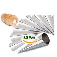ingrosso muffa a cono-Set di 12 stampi in corno crema di grandi dimensioni in acciaio inossidabile corno conico conico in pasta corno in rotolo stampo in forno strumento di stampo