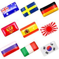 ingrosso adesivi nazionali di bandiera-Volante 3D Shield Flag Sticker Nazionale Bandiere Emblema Auto Decal Decorazione Auto Accessori 20pcs / set