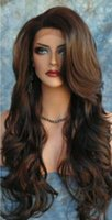 schöne lange haare frauen großhandel-freies Verschiffen schöne neue heiße selL synthetische 70cm Art- und Weisefrauen-lange Haar-volle Perücke natürliche lockige wellenförmige gerade braune Perücken HEISS