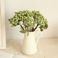 ingrosso bacche artificiali-Bean Branch Bean Artificial Fruit Berry Combination Home Office Garden Albero di Natale Decor Fai da te Vacanze di nozze Fiore Pianta