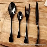Wholesale high quality stainless steel chopsticks for sale - Group buy DLM2 Dinnerware Sets Black Rose Dinnerware Set high Quality Stainless Steel Dinner Knife Fork soup coffee Spoon Teaspoon Cutlery h122