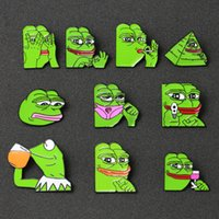 Wholesale enamel frog for sale - Group buy Frog Pepe Brooch Pin Smile Sad Pepe Frog Kermit Meme Enamel Badge Pop Culture Animal Cartoon Emoji Jewelry Boy s Club