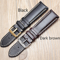 Wholesale leather belts for wrist watch online - Handmade Genuine Leather Watch Band Strap mm Black Dark Brown VINTAGE Wrist Belt Bracelet Steel Pin Buckle