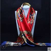 Wholesale silk polyester square hijab resale online - 90cm cm Big Size Silk Square Scarf Women Fashion Brand High Quality Imitated Silk Satin Scarves Polyester Shawl Hijab Brand Design