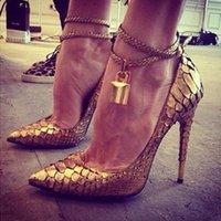 siyah altın stiletto ayakkabı toptan satış-Zapatos Mujer 2019 Altın Siyah Kırmızı Deri Kadın Pompaları Ayak Bileği Kayışı Asma Yüksek Topuklu Seksi Sivri Burun Parti Elbise Ayakkabı 12 cm topuklu