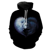 Wholesale lion king hoodies sweatshirt for sale – custom Euro Size Autumn and Winter New Black and White Lion King Printing Mens Hoodie Pullover Sweatshirt Long Sleeve Designer Hoodies Black