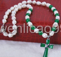 Wholesale green fresh water pearl online - White Rice Akoya Fresh Water Cultured Pearls Green Jade Cross Pendant Necklace