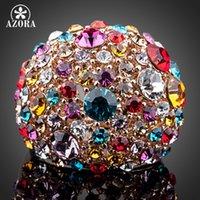 anéis de azora venda por atacado-Azora lindo Rose Gold Cor Multicolour Stellux cristal austríaco anel TR0102
