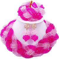 pulsera fucsia al por mayor-Fiesta y diario Pink Fuchsia Pink Crystal estilo africano collar de perlas conjuntos de joyas para damas 12C-BZ-10