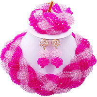 conjuntos de jóias de senhora africana venda por atacado-Partido e Diário Rosa Fúcsia Rosa Cristal Estilo Africano Beads Colar Conjuntos de Jóias para Senhoras 12C-BZ-10