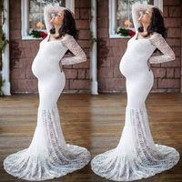 robes de sirène pour mariage achat en gros de-Femmes Longues Maxi Col En V Robe En Dentelle Robes De Sirène De Maternité Dentelle Robe De Maternité Robe De Mariage De Trompette Robes Enceintes