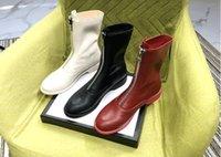 weiße chunky ferse stiefeletten großhandel-Designer Frau Luxus Stiefeletten Britischen Stil Echtes Leder Blockabsatz 3 cm Weiß Martin Stiefel sexy runde Zehen Reißverschluss Lederstiefel