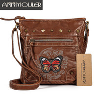 Wholesale butterfly cross body bags for sale - Group buy Annmouler Vintage Women Shoulder Bag Colors Crossbody Bag Butterfly Embroidery Soft Messenger Bag For Ladies Pu Leather Purse Y190619