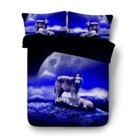 Wholesale twin wolf print bedding sets resale online - Howling Wolf Bed Set Blue And Orange Duvet Cover d Wildlife Bedding Sets Polyester Cotton PC Duvet Cover Pillow Shams No Comforter