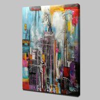 Wholesale oil paint abstract buildings resale online - Framed Unframed Tall Building Home Decor Handpainted HD Print Oil Painting On Canvas Wall Art Canvas Pictures