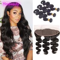 saçlı ön kapak toptan satış-Brezilyalı Virgin Saç 13x4 Dantel Frontal Ve Paketler Vücut Dalga 4 adet / lot İnsan Saç Vücut Dalga Saç atkılı Kapanış