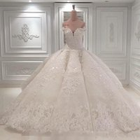 Wholesale dresses for church resale online - Vestido De Noiva Ball Gown Wedding Dresses Off The Shoulder Cathedral Train Lace Appliques Bridal Gown For Church Custom Made BC0388