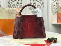Wholesale black python bag resale online - 2019 new python skin fashion ladies famous designer Messenger bag designer handbag shoulder bag Boston bag good quality moderate price