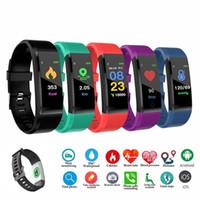 pulseras para mujer usa al por mayor-ID 115 Plus Smart Fitness Bracelet Tracker Pantalla colorida Monitor de ritmo cardíaco de presión arterial Reloj de mujer para iphone Samsung Huawei xiaomi