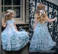 Wholesale red floor length dresses for toddlers for sale - Group buy 2019 Halter Dollcake Flower Girl Dresses Special Occasion For Weddings Ruffled Floor Length Lace Party Communion Dresses for toddler