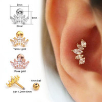 Wholesale tragus jewelry studs resale online - Pinksee Pc Cz Crown Tragus Stud Conch Piercing Helix Cartilage Earring Crystal Piercing Ear Jewelry