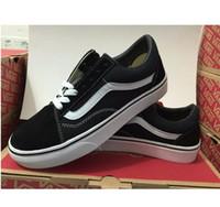 ingrosso scatole di scarpe vecchie-Con Box Vans Old School classici low-top Sneakers unisex Scarpe Uomo Scarpe in tela Scarpe da golf 36-44