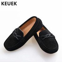 zapato de vestir para niños pequeños al por mayor-Nuevos zapatos de cuero genuino Mocasines para niños Mocasines negros Pisos para niños pequeños Niños Estudiantes Niños Vestir Zapatos casuales 02