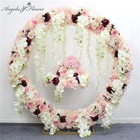 Wholesale 2m backdrop resale online - 2m artificial orchid flower row runner decor party wedding backdrop iron arch stand road lead wisteria rose peony orchid mix row