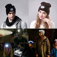 Wholesale beanies lights resale online - New Hot High Powered LED Light Unisex Beanie Hat with USB Rechargeable for Outdoor Camping Hiking YAA99